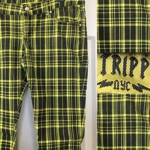 Tripp Neon Plaid Skinny Jeans